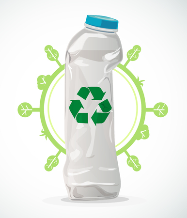 Recycle plastic to reduce global warming and reduce waste. Vector