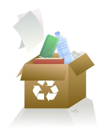 reanimować: Kartonowe i plastikowe butelki, puszki, papier do ponownego wykorzystania.