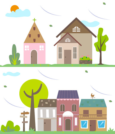 provincial: Small town in the suburbs with breeze blowing through. Illustration