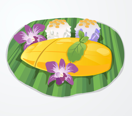 Mango sticky rice topped with coconut on banana leaf decorated with orchids  Vettoriali