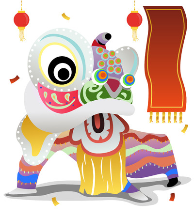 テキスト入力用のフレームと中国の新年を祝うためにライオンのダンス
