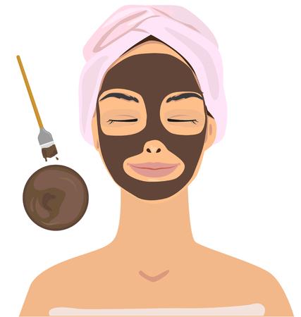 Woman facial skin with cocoa  Vector