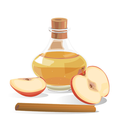 vinegar: Fermented apples in a glass bottle. And apples with cinnamon. Illustration