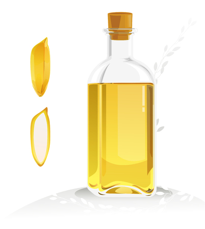 bran: Grains and a bottle of rice bran oil.