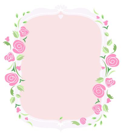 ピンクのバラとテキスト枠