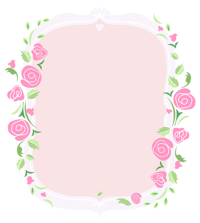 The text frame with pink rose  Stock Vector - 22731306