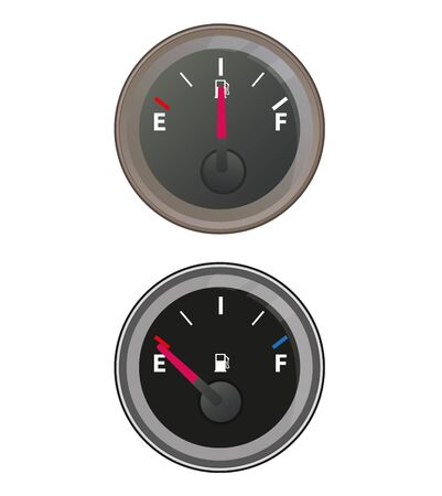 less: Gauge show the oil is more or less  Illustration