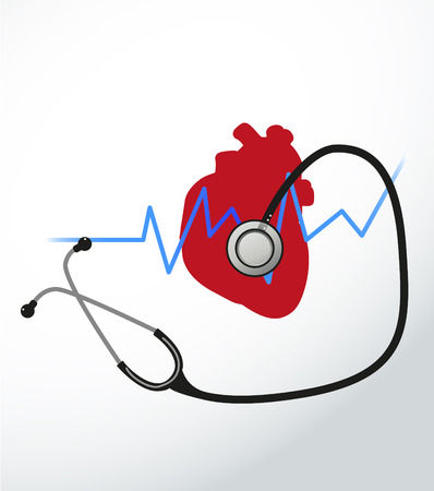 Heart disease   Image of heart and stethoscope and heartbeat Stock Vector - 22731317