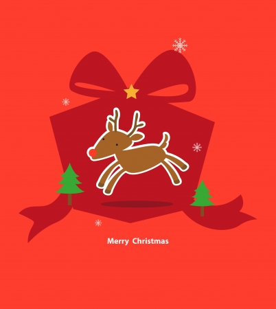 Deer and gift box on a red background. Holiday and christmas day Vector
