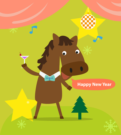 New Year celebrations with horse and wine glass  Vector