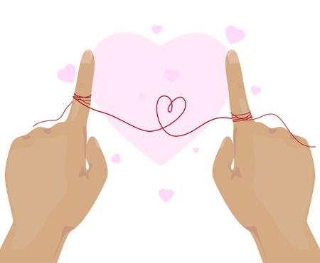string together: Forefinger with string together and heart shape