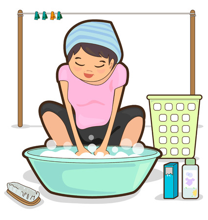 basin: Women are washing by hand and basin  Illustration