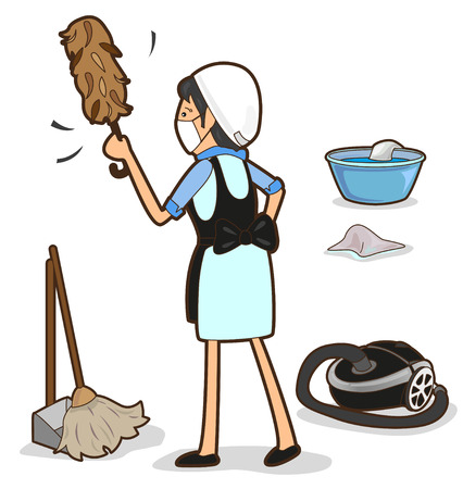 whisk broom: Housewife is cleaning the house, sweep, vacuum, wipe