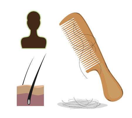 drop: Scalp hair comb with some hair stuck out