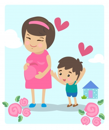 homely: Mother pregnant with her eldest son with love  Illustration