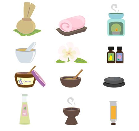 frankincense: Equipment used in the spa on a white background.