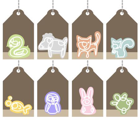 tienda de animales: Etiquetas colgantes, marco para el t�tulo y el texto de la tienda de mascotas.