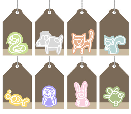 pet shop: Hang tags, frame for title and text for the Pet Shop. Illustration