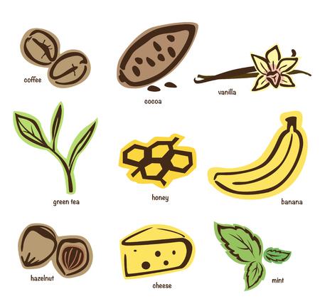 Verschillende en smaken van smaak en geur, zoals bananen, koffie, groene thee en meer Stock Illustratie