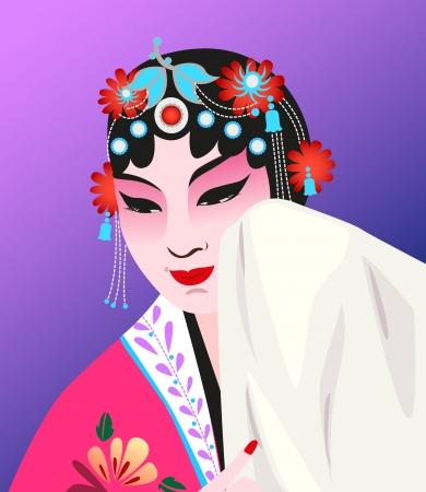 중국 오페라 드레스와 수줍은 연기에 여자