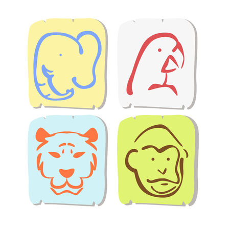 complement: Icon four animal types for decoration such as  elephant, tiger, monkey and parrot
