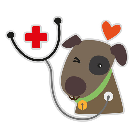 Symbol for Animal Hospital have an image dog with a happy face and medical headphones  Vettoriali
