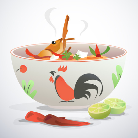 Bowl of soup, chili, and lime. Vector