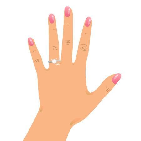 bague de fiancaille: Main portant une bague de fian�ailles et de mariage anneau Illustration