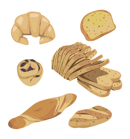 garlic bread: different types of bread and pastries Illustration