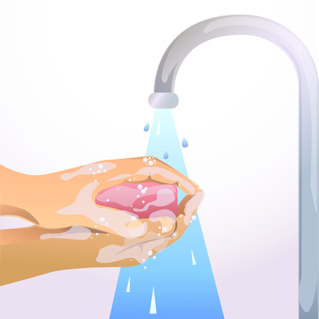 wash hand: hand washing with soap and water