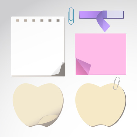 scratch pad: Various shapes and colors of notebook paper  Illustration
