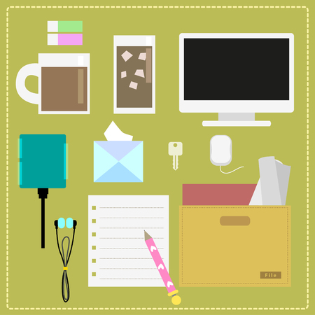 office use: The everyday office use such as computer, a glass of coffee, earphone etc  Illustration