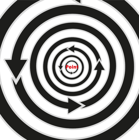 Arrows around a circle to destination. Stock Vector - 25470563
