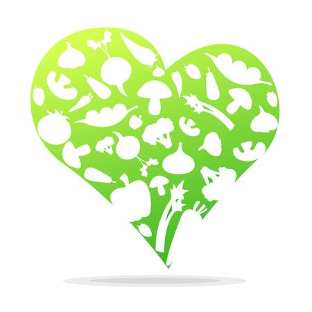 Vegetables in heart shapes. Love to eat vegetables. Illustration