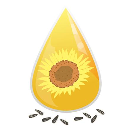 Zonnebloemolie en zonnebloempitten met een witte achtergrond