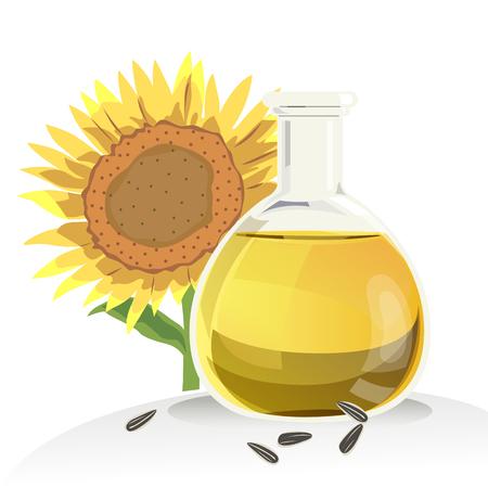 L'huile de tournesol dans les bouteilles et les graines de tournesol avec un fond blanc