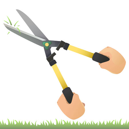 shear: Vector of hand holding grass shear to mowing grass.