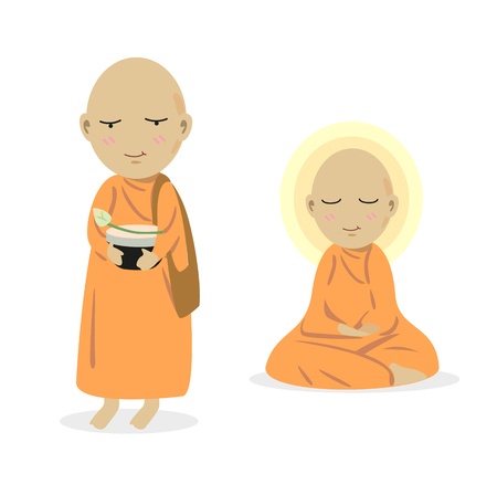 ordinate: vector of monk receive food offerings and meditate