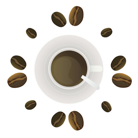 A glass of coffee in a saucer and coffee beans  Illustration