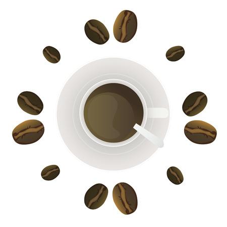 chicchi di caff�: Un bicchiere di caff� in un piattino e chicchi di caff�