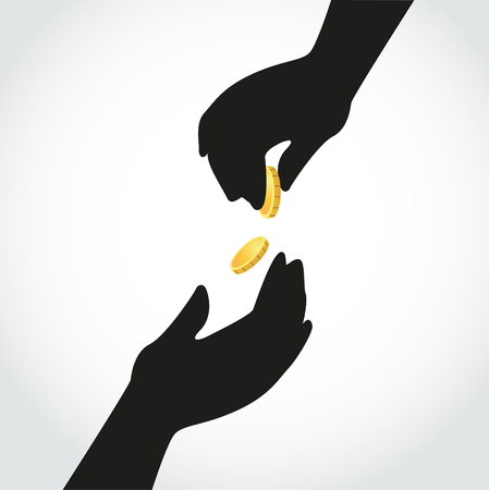 lend a hand: Hands held together one hand give coin to the other hand  Illustration