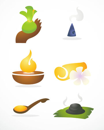 incense: Thai style icon for spa equipment on white background
