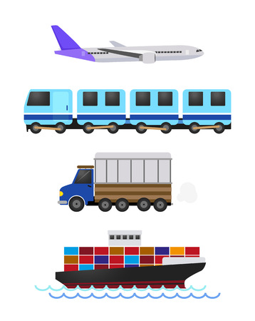 Vehicles used for the transportation and travel. Vector