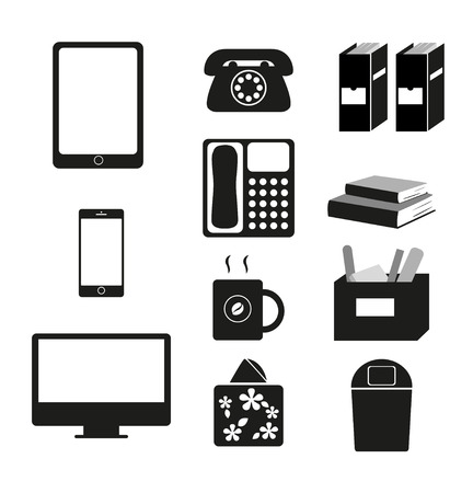 Vector black and white of equipment we use in the workplace and everyday life.