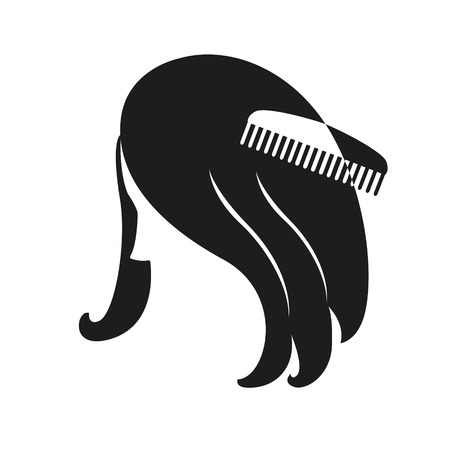 bobbed: Silhouette woman comb the hair on white background. Illustration