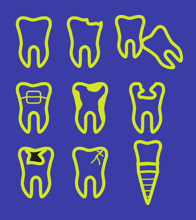 Outline of teeth icon in various shape. Vector