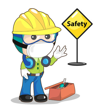 wear mask: vector of man wear protective equipment for working