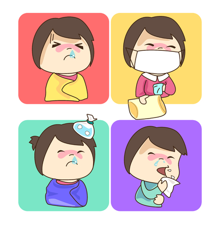 snot: Four of character cartoon have a cold, fever and sneezing.