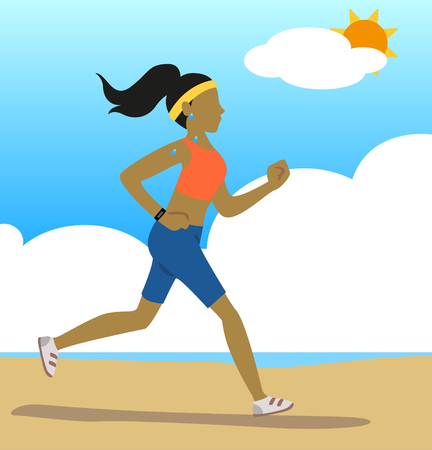 Woman jogging along the beach with the sun and clouds in the backgroung. Illustration