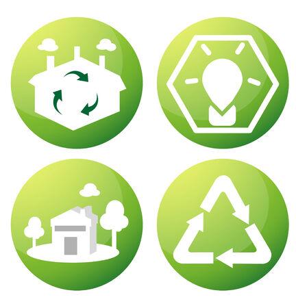 consumo energia: Per ridurre il consumo energetico e riutilizzo. Vettoriali